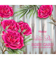 roses card realistic beautiful floral decor with vector image vector image
