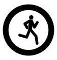 running man - stick icon black color in circle vector image vector image