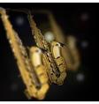 saxophones in different focusing of vector image