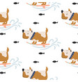 seamless pattern with cute dogs on surf background vector image vector image