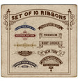 set 10 ribbons vector image