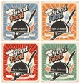Set of retro restaurant posters vector image vector image