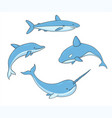 set of underwater life with whale shark narwhal vector image