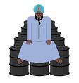 Sheikh sits on barrels of oil Wealth of Sultan vector image vector image