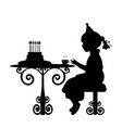 silhouette girl drink tea with cake birthday vector image