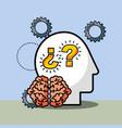 silhouette man brain questions creative idea vector image