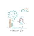 vertebrologist standing near tree with a crooked vector image vector image