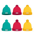winter hats set isolated flat vector image vector image