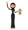 woman holding an coffee pot and waving her hand vector image vector image