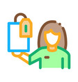 woman with gift and label icon outline vector image