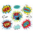 set of comic text pop art comic style vector image