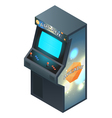 Arcade Game Cabinet with Glowing Screen Isometric vector image vector image