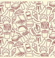 background pattern with fast food icons vector image