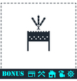 Barbecue grill with shashlik icon flat vector image vector image