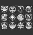 baseball sport isolated monochrome icons vector image