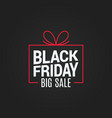 black friday sale gift box on black background vector image vector image
