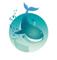 blue whale ocean underwater landscape vector image