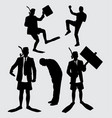 business and diving people action silhouette vector image vector image