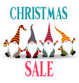 christmas sale banner with gnomes vector image