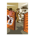 Cowboy Robber Stealing Saloon Poster vector image vector image
