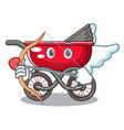 cupid cartoon baby stroller walk in the park vector image
