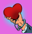 dependence on love red heart is handcuffed vector image