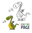 dinosaur cartoon coloring page vector image vector image