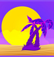 evening on beach with palm trees colorful vector image vector image
