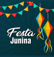 festa junina flags lantern black background vector image vector image