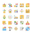 flat icons collection of logistic delivery vector image