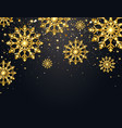glitter snowflakes with falling particles on dark vector image vector image