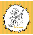 Halloween witch with a cat vector image vector image