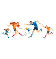 happy family playing soccer together concept vector image vector image