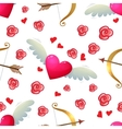 Heart and bow seamless pattern vector image
