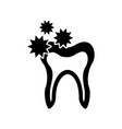 human tooth with bacterium vector image