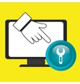 laptop key hand icon vector image