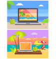 laptops cocktails collection vector image vector image