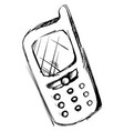 mobile phone drawing on white background vector image