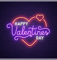 neon logo label happy valentines day neon sign vector image