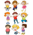 nine characters of happy kids vector image vector image