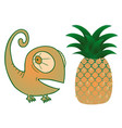 pineapple and chameleon vector image