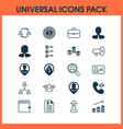 resources icons set collection of team structure vector image vector image