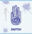 sketch line symbol jainism or jain dharma icon vector image vector image