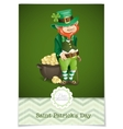 St Patricks Day Leprechaun With Pot Of Gold vector image vector image
