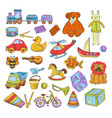 toys isolated icons kindergarten childish games vector image vector image