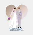 wedding background with bride and bridegroom and vector image vector image