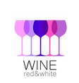 wine red white template logo vector image