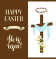 wooden cross with shroud lily crown thorns vector image