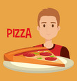 young man with italian pizza portion vector image vector image