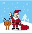 cute cartoon santa with reindeer merry christmas vector image